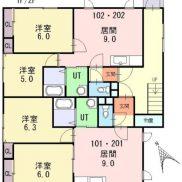北海道札幌市◆賃貸4の1◆土地201.77平米◆2LDK×4戸◆満室時利回り 11.44%