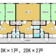 新潟県長岡市◆賃貸6の5◆土地69.65平米◆1DK×3戸、2DK×3戸◆満室時利回り 12.12%