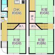 大阪府枚方市 居住中 土地50.33平米 戸建て3DK 満室時利回り 13.33%
